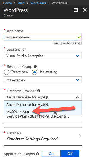 Azure App Service Options